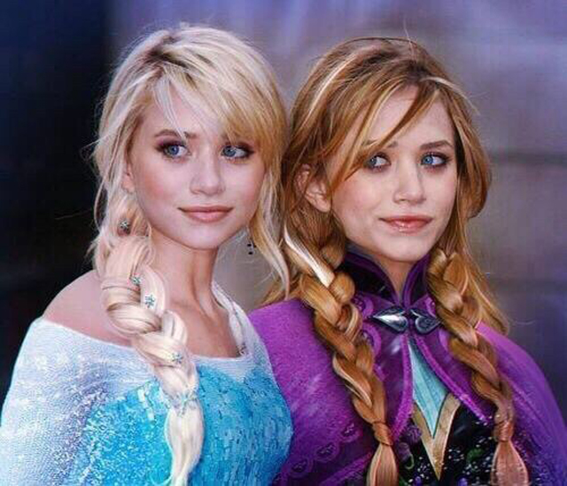 Mary Kate and Ashley Olsen as Elsa and Anna