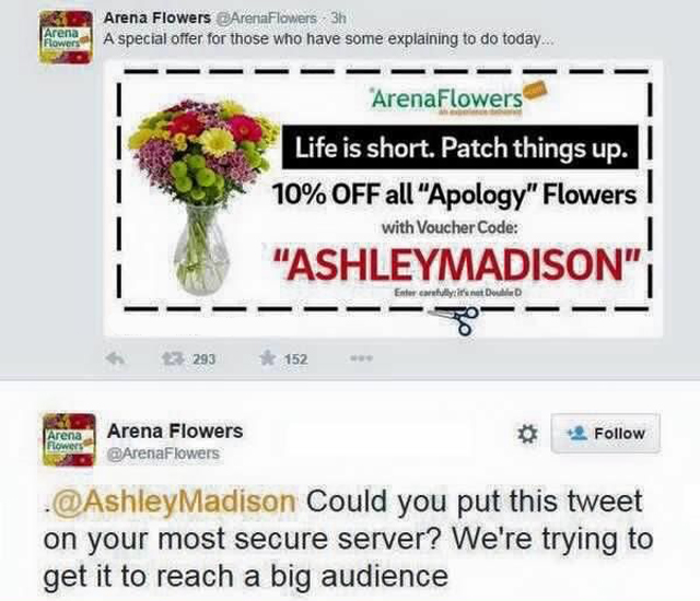 Tweet making fun of Ashley Madison hack
